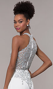 Image of high-neck embroidered JVNX by Jovani long prom dress. Style: JO-JVNX1259 Detail Image 7