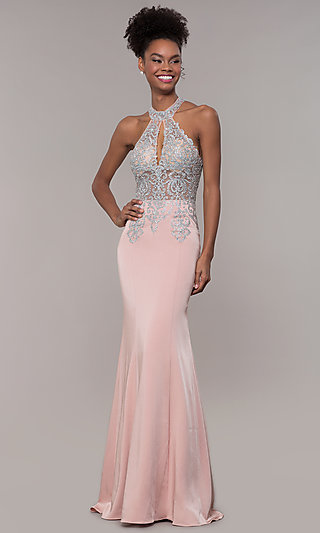 High Keyhole Embroidered Bodice Long Prom Dress