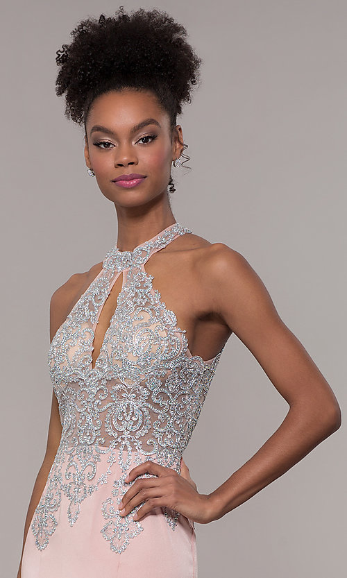 Image of high-neck embroidered JVNX by Jovani long prom dress. Style: JO-JVNX1259 Detail Image 1