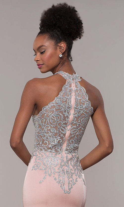 Image of high-neck embroidered JVNX by Jovani long prom dress. Style: JO-JVNX1259 Detail Image 2