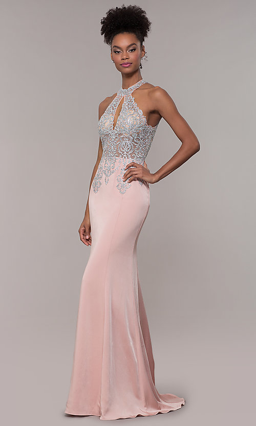 Image of high-neck embroidered JVNX by Jovani long prom dress. Style: JO-JVNX1259 Detail Image 3