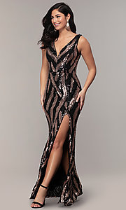 Image of black and gold long v-neck sequin-mesh prom dress. Style: MCR-7799 Front Image