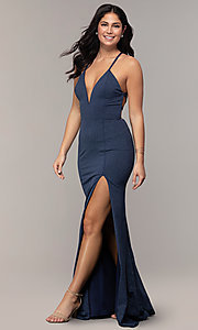 Image of long glitter-knit navy blue prom dress by Simply. Style: MCR-SD-2832 Front Image