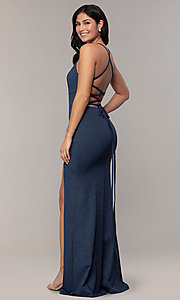 Image of long glitter-knit navy blue prom dress by Simply. Style: MCR-SD-2832 Back Image