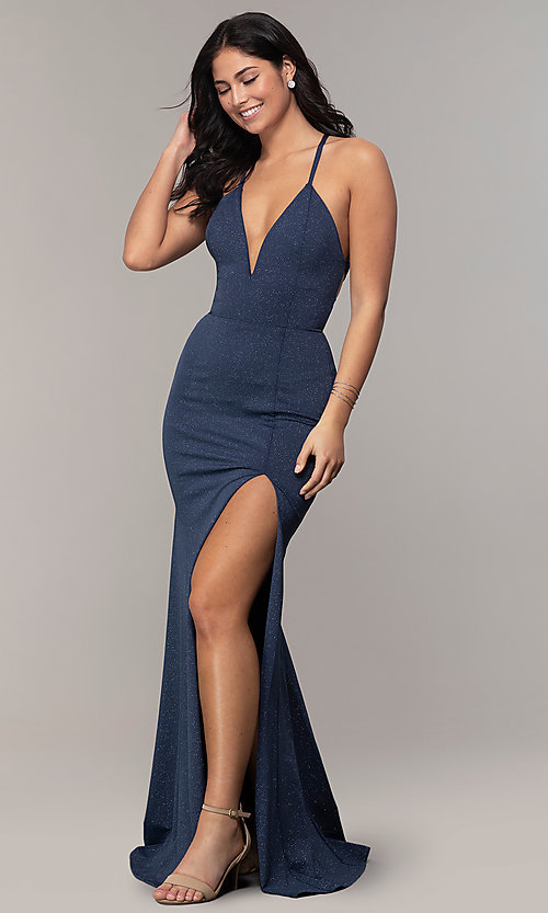 Image of long glitter-knit navy blue prom dress by Simply. Style: MCR-SD-2832 Detail Image 3