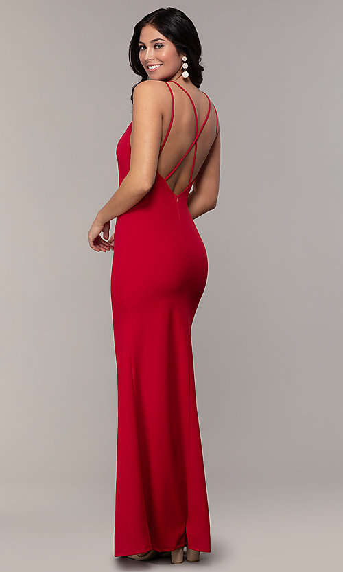 Image of double-strap long v-neck prom dress by Simply. Style: MCR-SD-2803 Detail Image 5