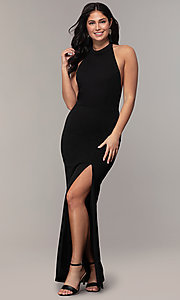Image of high-neck halter long prom dress by Simply. Style: MCR-SD-3077 Back Image