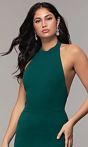 Image of high-neck halter long prom dress by Simply. Style: MCR-SD-3077 Detail Image 6