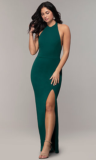 High-Neck Halter Long Prom Dress by Simply