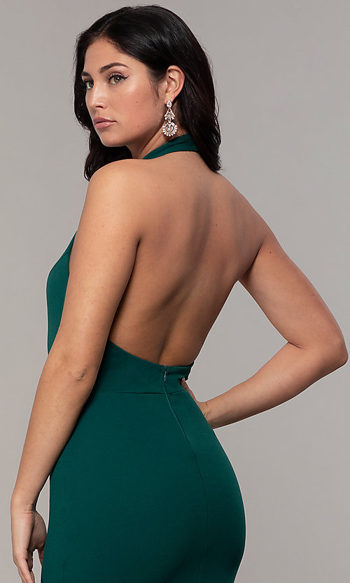 Image of high-neck halter long prom dress by Simply. Style: MCR-SD-3077 Detail Image 7