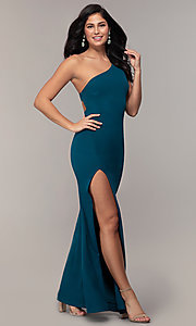 Image of one-shoulder strappy-back long prom dress by Simply. Style: MCR-SD-2808 Front Image