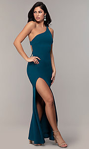 Image of one-shoulder strappy-back long prom dress by Simply. Style: MCR-SD-2808 Detail Image 3