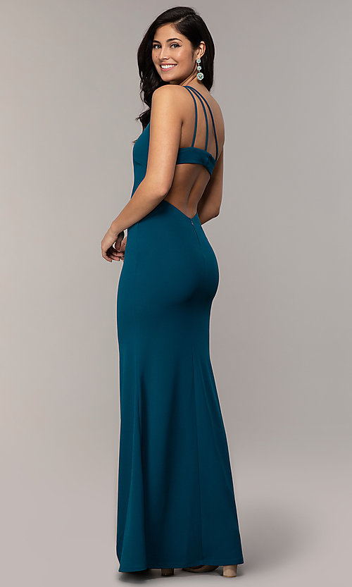 Image of one-shoulder strappy-back long prom dress by Simply. Style: MCR-SD-2808 Back Image