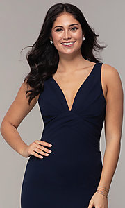 Image of empire-waist long v-neck prom dress by Simply. Style: MCR-SD-3016 Detail Image 1