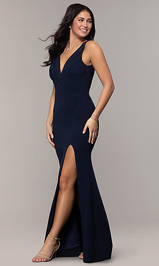 Empire-Waist Long V-Neck Prom Dress by Simply