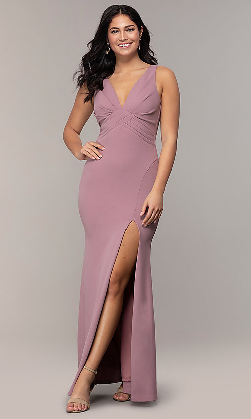 Image of empire-waist long v-neck prom dress by Simply. Style: MCR-SD-3016 Detail Image 4