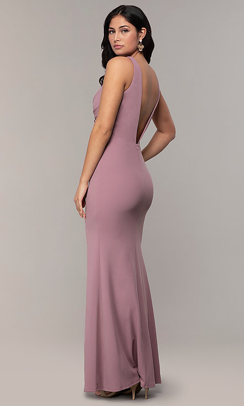 Image of empire-waist long v-neck prom dress by Simply. Style: MCR-SD-3016 Detail Image 5