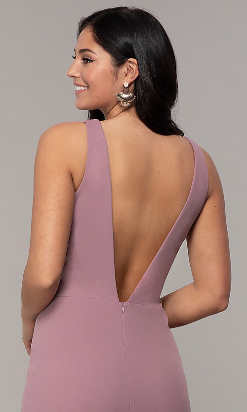 Image of empire-waist long v-neck prom dress by Simply. Style: MCR-SD-3016 Detail Image 7