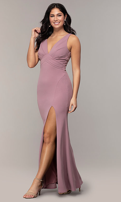 Image of empire-waist long v-neck prom dress by Simply. Style: MCR-SD-3016 Detail Image 8