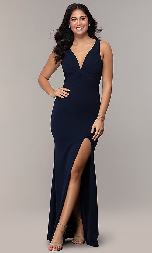 Image of empire-waist long v-neck prom dress by Simply. Style: MCR-SD-3016 Detail Image 3