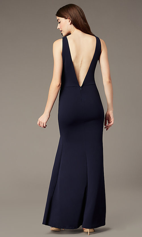 Image of empire-waist long v-neck prom dress by Simply. Style: MCR-SD-3016 Back Image