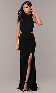 Image of high-neck racerback long prom dress by Simply. Style: MCR-SD-3079 Front Image