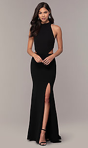 Image of high-neck racerback long prom dress by Simply. Style: MCR-SD-3079 Detail Image 3