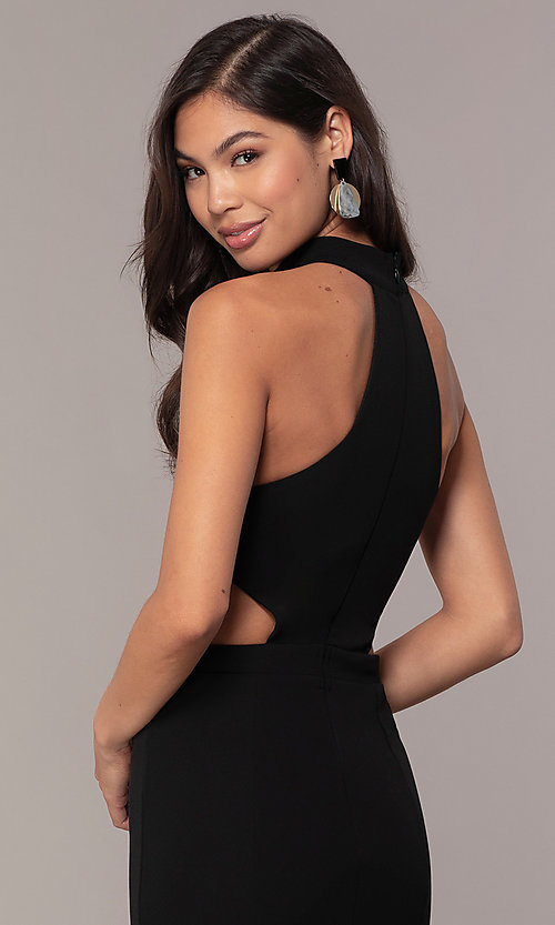 Image of high-neck racerback long prom dress by Simply. Style: MCR-SD-3079 Detail Image 2