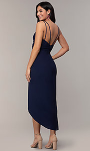 Image of midi-length faux-wrap navy prom dress by Simply. Style: MCR-SD-2468 Back Image