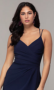 Image of midi-length faux-wrap navy prom dress by Simply. Style: MCR-SD-2468 Detail Image 1