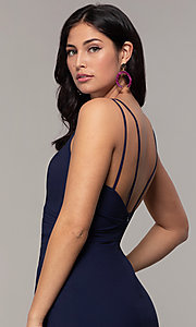 Image of midi-length faux-wrap navy prom dress by Simply. Style: MCR-SD-2468 Detail Image 2