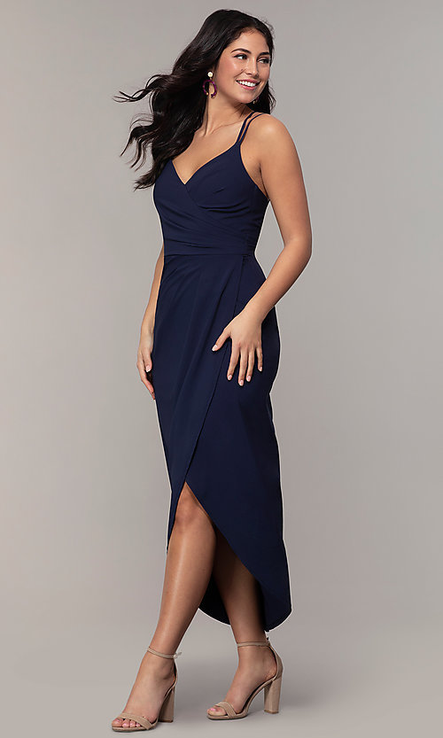 Image of midi-length faux-wrap navy prom dress by Simply. Style: MCR-SD-2468 Front Image