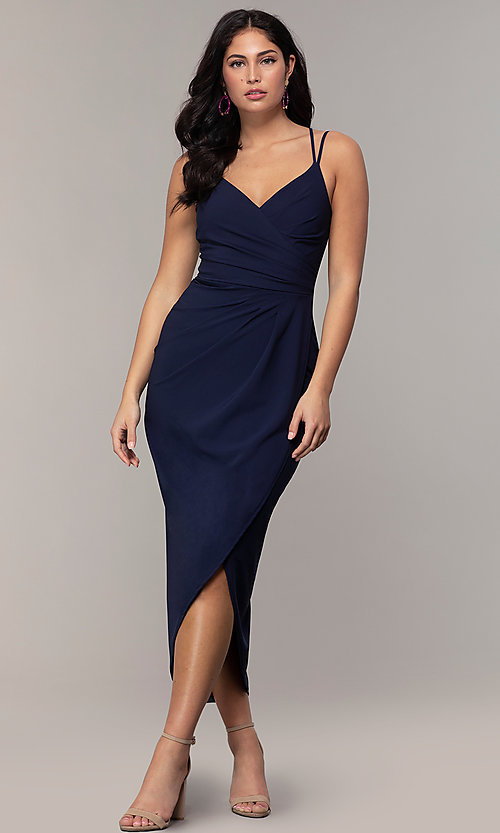 Image of midi-length faux-wrap navy prom dress by Simply. Style: MCR-SD-2468 Detail Image 3