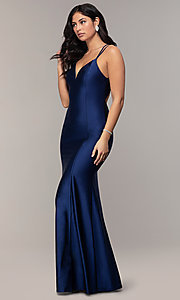 Image of long v-neck Simply prom dress with open back. Style: MCR-SD-3070 Front Image