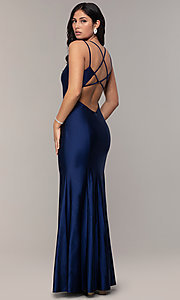 Image of long v-neck Simply prom dress with open back. Style: MCR-SD-3070 Back Image