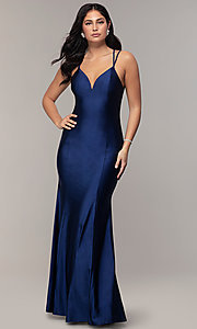 Image of long v-neck Simply prom dress with open back. Style: MCR-SD-3070 Detail Image 3