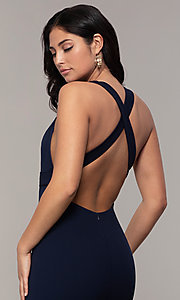Image of v-neck open-back long formal prom dress by Simply. Style: MCR-SD-3068 Detail Image 2