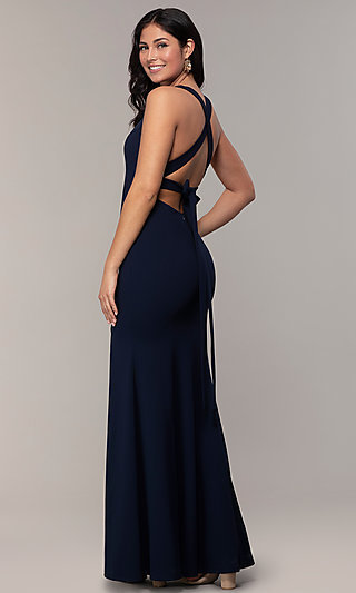 V-Neck Open-Back Long Formal Prom Dress by Simply