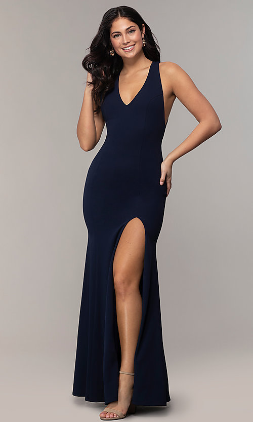 Image of v-neck open-back long formal prom dress by Simply. Style: MCR-SD-3068 Back Image
