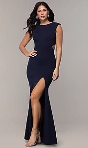 Image of bateau-neck long prom dress by Simply. Style: MCR-SD-3073 Front Image