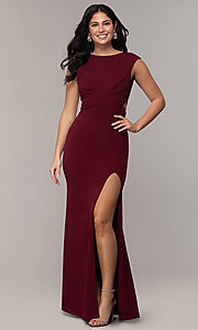 Image of bateau-neck long prom dress by Simply. Style: MCR-SD-3073 Detail Image 4
