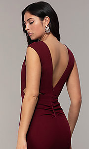 Image of bateau-neck long prom dress by Simply. Style: MCR-SD-3073 Detail Image 7