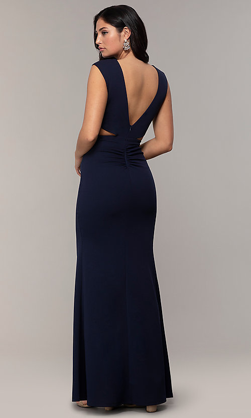 Image of bateau-neck long prom dress by Simply. Style: MCR-SD-3073 Back Image