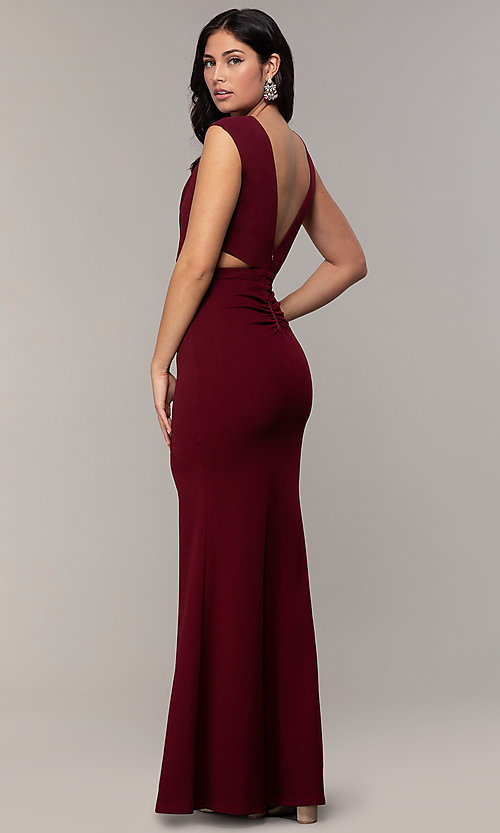 Image of bateau-neck long prom dress by Simply. Style: MCR-SD-3073 Detail Image 5