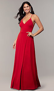 Image of long faux-wrap v-neck prom dress by Simply. Style: MCR-SD-3069 Front Image