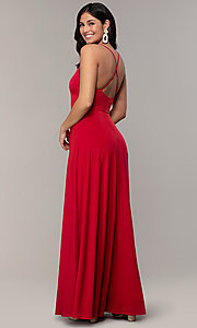 Image of long faux-wrap v-neck prom dress by Simply. Style: MCR-SD-3069 Back Image