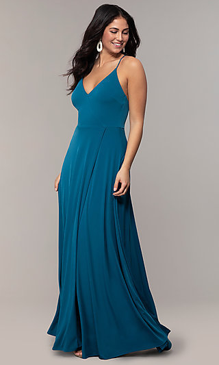 Long Faux-Wrap V-Neck Prom Dress by Simply
