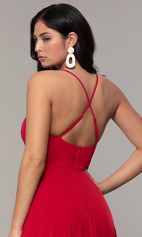 Image of long faux-wrap v-neck prom dress by Simply. Style: MCR-SD-3069 Detail Image 2