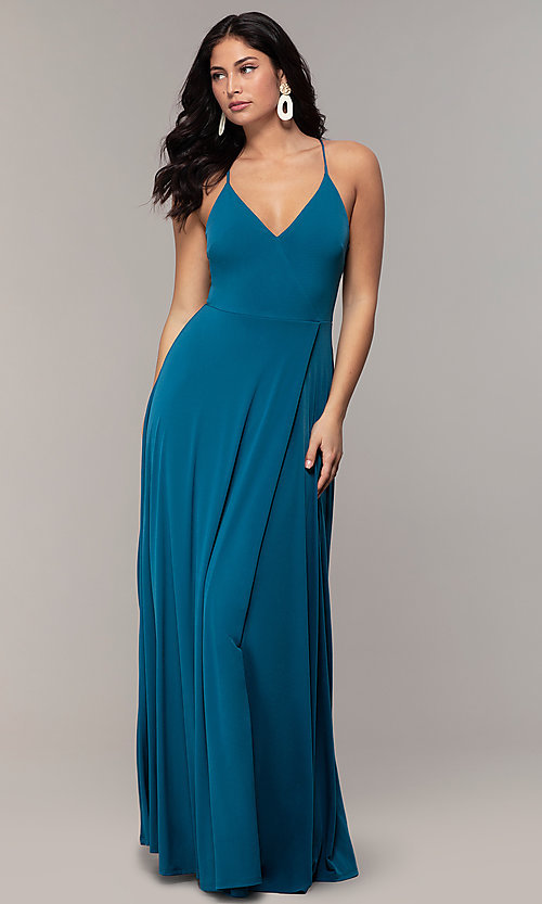 Image of long faux-wrap v-neck prom dress by Simply. Style: MCR-SD-3069 Detail Image 3