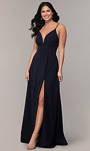 Image of faux-wrap long v-neck prom dress by Simply. Style: MCR-SD-2804 Front Image